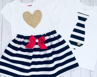Brother sister outfits... SIBLING CLOTHES--- new baby... Black and white stripes with gold and red accents