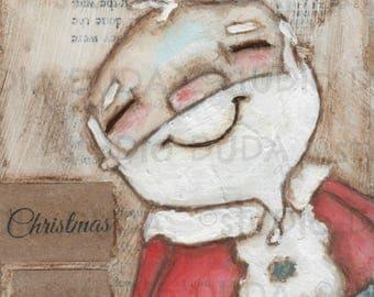 Print of my Original Christmas Birds Mixed Media Painting -Christmas is Love