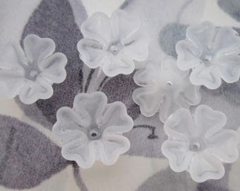 6 pcs. frosted clear acrylic flower beads 16mm - f5505