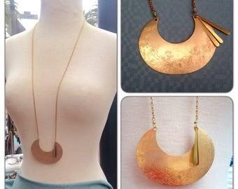Crescent Moon Long Brass Statement Tassel Necklace - Geometric Gemstone Crystal Point pendant necklace -