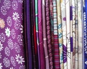 Purple Kimono Scrap Fabric Mix, Craft Supply Vintage Most Silk Asian Textile, 23 Pieces of Japanese Fabric Scrap