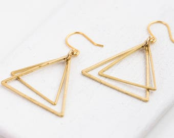 Minimal Triangle Earrings, Triangle Earrings, Geometric Brass Earrings, Triangle Gold Earrings, Triangle
