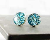 SMALL Turquoise Circuit Board Post Earrings, Sterling Silver Stud Earrings, Wearable Technology, Software Engineer, Geeky Engineer Gift
