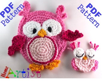 Owl and Baby crochet applique pattern