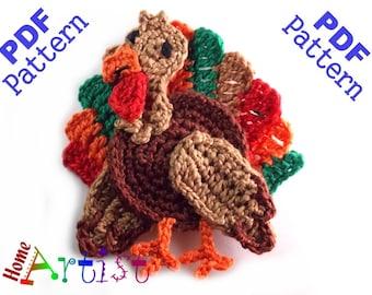 Turkey Thanksgiving crochet Applique Pattern