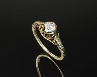Vintage! 14K Yellow Gold Art Nouveau Diamond Solitaire Ring