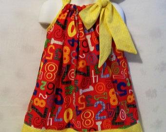 Red Numbers Pillowcase Girls Dress, Girls Dresses, Girls Clothing, Baby  Dress, Toddler dress, Big Girls Dress, handmade, USA Made, #2