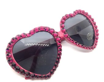 Magenta Pink Swarovski Rhinestone Heart Shaped Sunglasses - Bright Fuchsia Heart Frame Sunnies