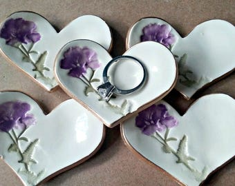5 Ceramic Purple Flower Ring Dishes itty bitty edged in gold baptism favors  Baby shower wedding shower bridal shower