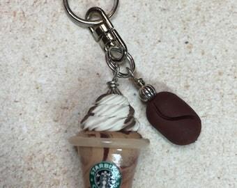 Miniature Starbucks COFFEE Drink Key Ring Charm - Handmade from My Bead Garden