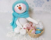 reserved custom order for Kathy, Snowman ornaments knitting, sewing, cookie exchange
