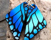 DICHROIC EARRINGS Butterfly Wings Turquoise Blue Hand Etched Fused Glass with Sterling Silver Hooks