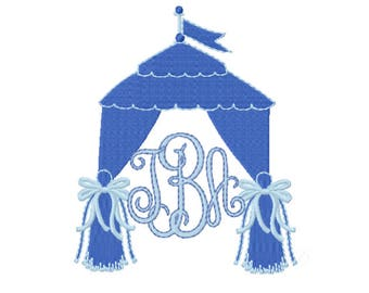 Tent with Bows Tailgating Football Cabana Embroidery Design Instant Download Font Plant 4x4 5x7 6x10 BX