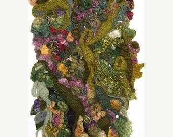KIT SALE VERDANT Falls freeform knit, crochet wallhanging, table runner, shawl