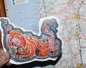 Octopus Ocean Squid Vinyl Decal Sticker laptop iphone stickers  decal stickers  skateboard stickers