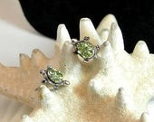 Christmas In July 40% Off Small Green Rhinestone Turtle Earrings Vintage Turtle Studs Small Turtle Earrings