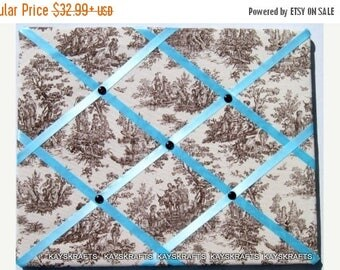 Christmas In July 30% Off Brown on Natural Toile Memory Board French Memo Board, Fabric Ribbon Memo Bulletin Board, Fabric Pin Board, Bedroo