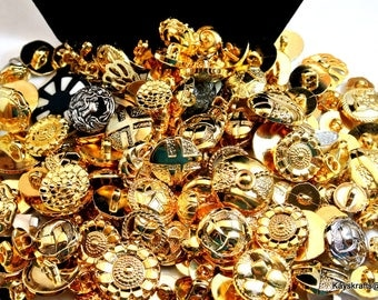 Large Mixed Lot of Gold Plastic Vintage Buttons Mixed Size Buttons Mix Lot of Silver Plastic Buttons, Mix Lot of Black Buttons