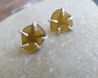 Amber Beach Glass Studs Silver Post Rough Sea Glass Earrings Unisex Jewelry Brown stud earrings Summer Beach Glass Jewelry Amber