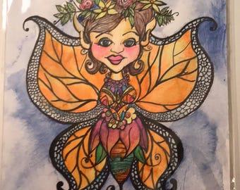 Mixed Media Fairy Butterfly Illustration Art