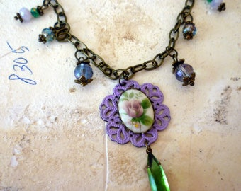 Lavender Rose Oval Beaded Necklace With Green Navette Dangle