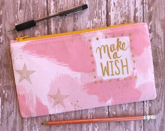 Pink Pencil Case Zippered Pouch Back To School School Supplies Cosmetic Bag Gift For Her Organizer Bag Gift under 15