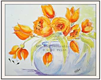 Watercolor painting Print Orange Tulips, floral still life art, Living Room Art, Bedroom wall art, orange and blue