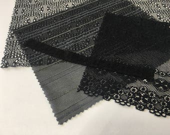 assortment of various smaller sheer lingerie tulle lace / mesh swatches — black (geometric)  — different sizes and patterns