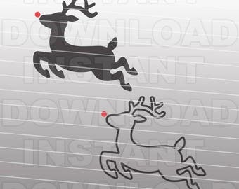 Reindeer SVG File-Christmas SVG File-Rudolph SVG File-Die Cut,Vector Clip Art Commercial & Personal Use Cricut,Silhouette,Cameo,Vinyl