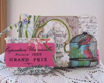 Bird in a Cage Pouch Clutch Wristlet Zipper  Bag Set Smart phone Case