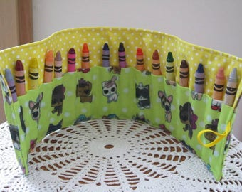 Crayon Roll up - Crayon Holder - LOL Surprise Doll Pet Crayon Roll - Toddler Gift, Travel Toy, Birthday Party Gift