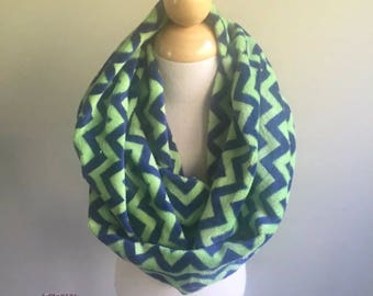 "Infinity Scarf-Minky Fleece Chevron Green Navy-6"" by 56""-Handmade USA-Tween Ladies"