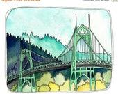 ON SALE - Art Print - Art Print Watercolor - Portland Illustration - Portland Bridge Art - Portland Oregon Art - 8x10 Art Print - St Johns B