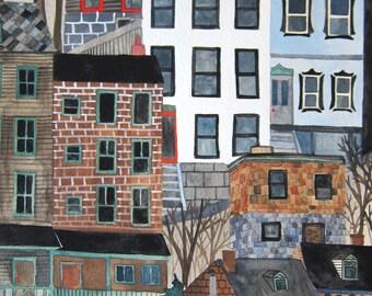 Art - Original Art - Illustration - Original Illustration - Pittsburgh Art - Pittsburgh Illustration - Painting - Hissem Hillside