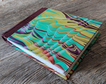 Handbound journal, classic quarter leather binding with original marbled papers
