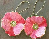 PINK + Green Trefoil Flowers for your ears from Wendy Baker