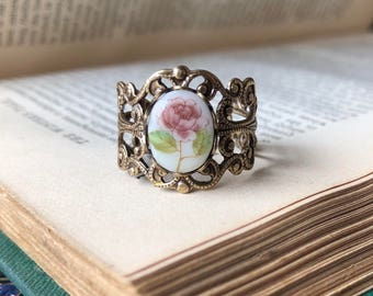 Pink Vintage Flower Cameo Ring