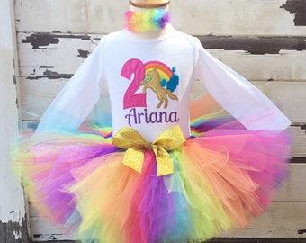 Bright Unicorn Rainbow 2nd Birthday Tutu Outfit- Personalized Baby Girl