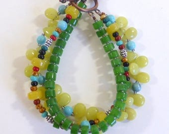 Three Strand Multi Stone Boho Bracelet Eclectic Mixture of Stones,  Howlite, Calcite, Glass Casual Hippie Copper Tone Clasp