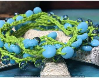 Crochet Jewelry, Crochet Bracelet, Crochelet Necklace, Vintage German Glass Mix and Sterling Silver Crochet Bracelet/Necklace