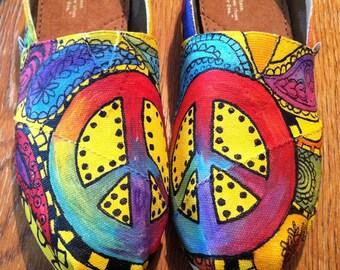 Custom TOMS, Yellow Summer Shoes, Tie Dye Flats, Woodstock Hippie Gift, Folk Music Festival, Bohemian Brides Present for Her, Favorite Aunt
