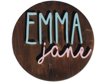 """18"""" Custom Round Wooden Name Sign - Nursery Sign"""