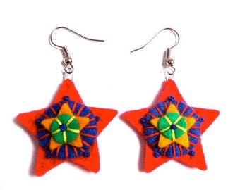 HALF PRICE Summer Sale RED Star Earrings textile art - summer picks - accessories