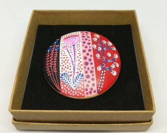 Hand painted mid century modern scandinavian style natural wood statement brooch navy red pink white