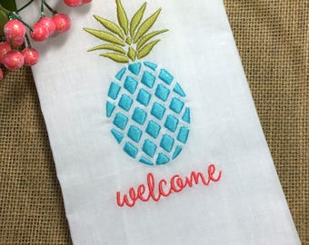 PINEAPPLE Welcome Guest Towel. Powder Room Decor. Embroidered White Linen Hemstitch Tea Towel. Wedding Gift. Hostess Gift. Bar Cart Decor.