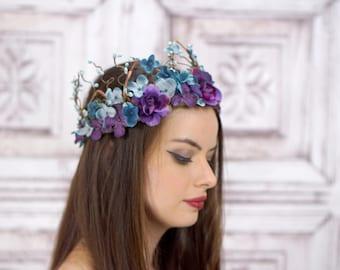 Woodland Crown, Blue and Purple, Flower Crown, Circlet, Headdress, Headpiece, Fairy Crown, Elven Crown, Bridal Headpiece, Wedding, Boho