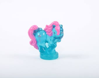 My Little Pony,  Petite Pony, Miniature, Figurine, Blue, Transparent, PVC, Pink Hair, Sundae Ice Cream, Hasbro, 80s ~ The Pink Room ~ SS006