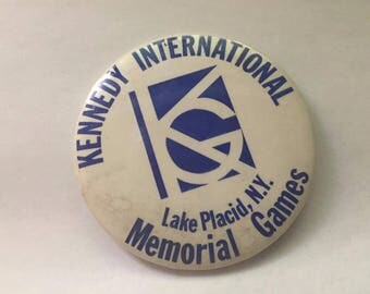 Kennedy International Memorial Games Lake PLacid NY Olympics Button