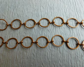 3 feet CIRCLE  ANTIQUE COPPER chain 12MM  good quality circle link lead free