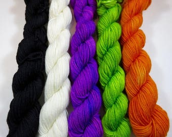 Hand Painted Superwash Merino/Nylon 4-Ply Sock Yarn Mini Skeins Set (20grams/92yards) -- Halloween Minis  (100 grams 465 yards)